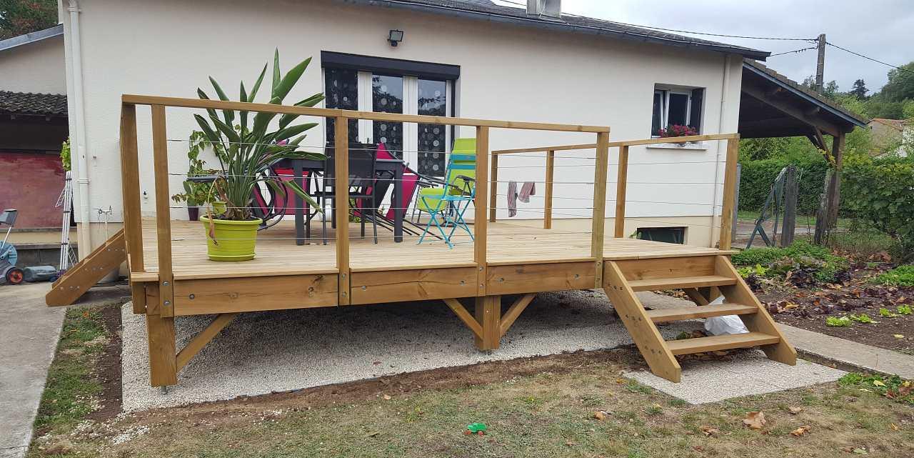 Terrasse bois en hauteur MB Paysage Pressac Sud Vienne